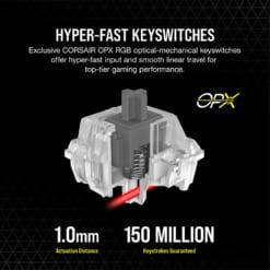 Corsair OPX RGB có khoảng cách lực nhấn chỉ 1.0mm, tuổi thọ 150 triệu lượt gõ